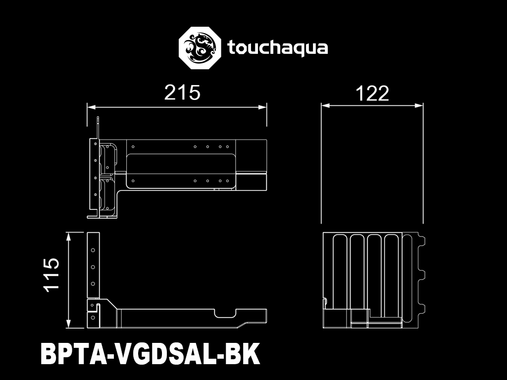 Bitspower Touchaqua Dual VGA Vertical Support