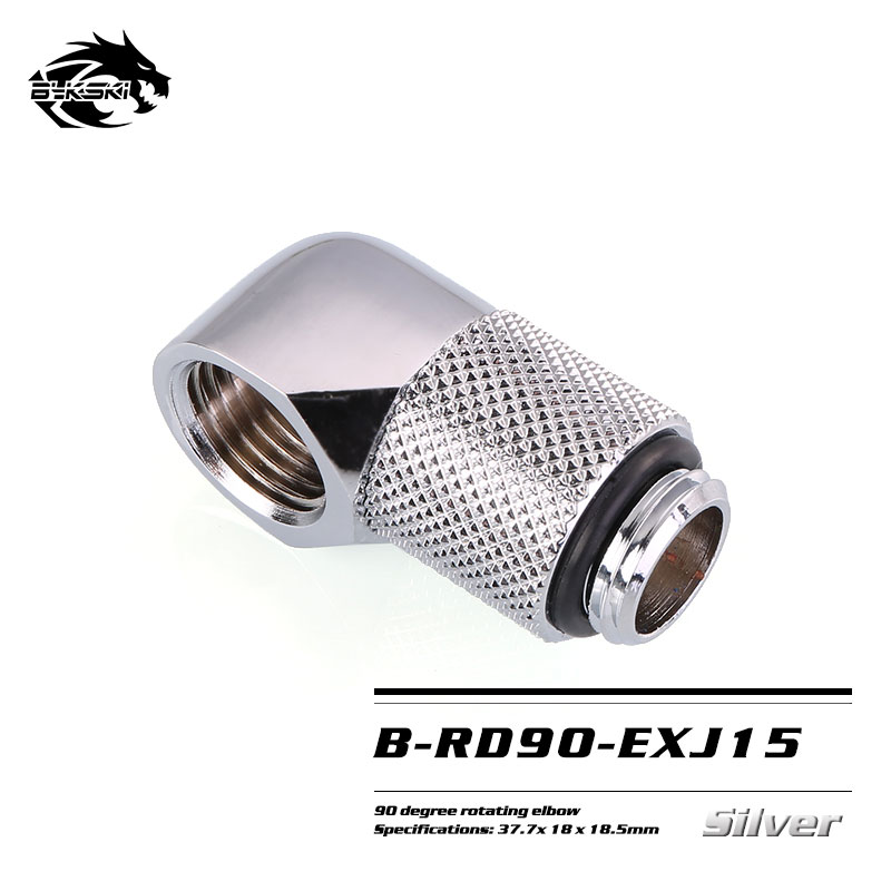 Bykski B-RD90-EXJ Fine 90 degree rotary extension elbow Cooling rotary joint for Blocks silver 15mm