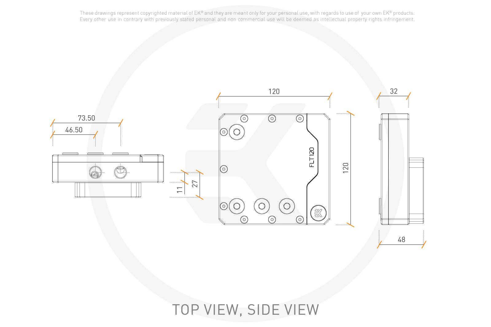 EK WaterBlocks EK-Quantum Kinetic FLT 120 D5/DDC Body D-RGB - Plexi