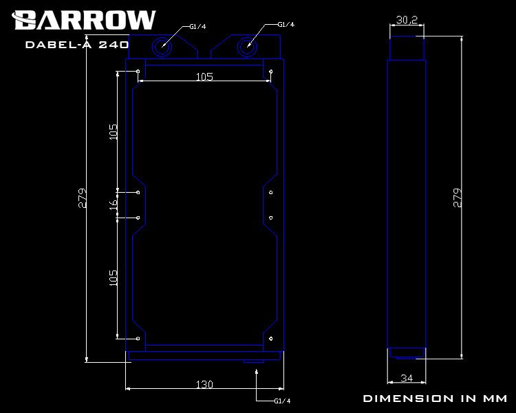 Barrow Dabel-a series Radiator 240 (Thick:34MM)