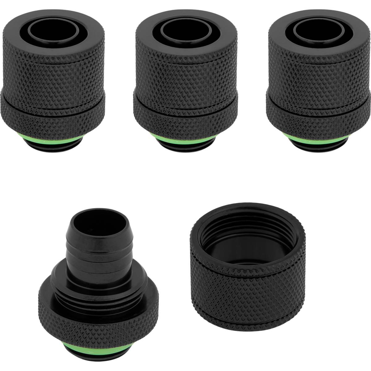 "CORSAIR Hydro X Series XF Compression 10/13mm (3/8"" / 1/2"") ID/OD Fitting Four Pack - Black"
