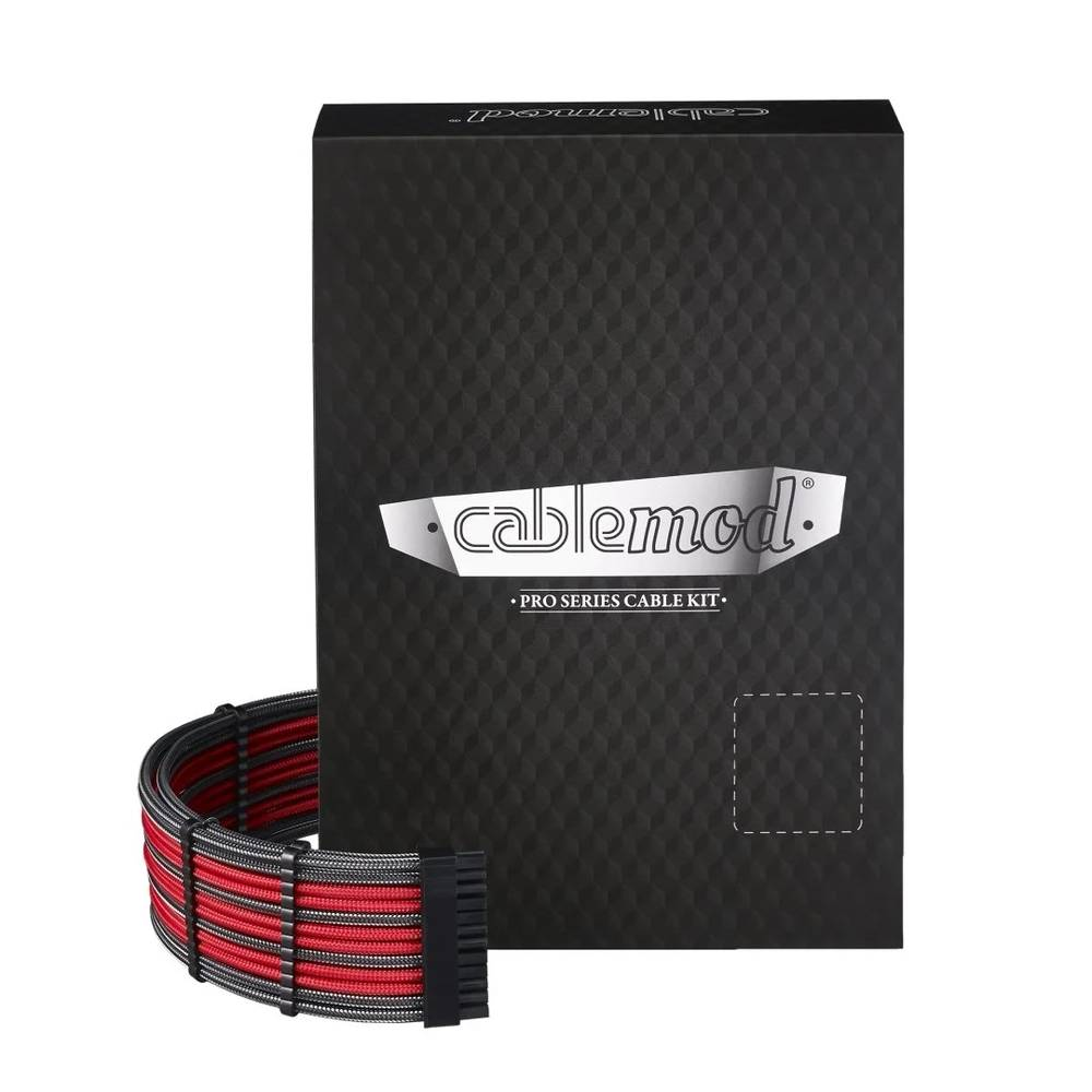 CableMod E-Series PRO ModMesh Cable Kit for EVGA G5 / G3 / G2 / P2 / T2 - CARBON / RED (CM-PEV2-FKIT-NKCR-R)