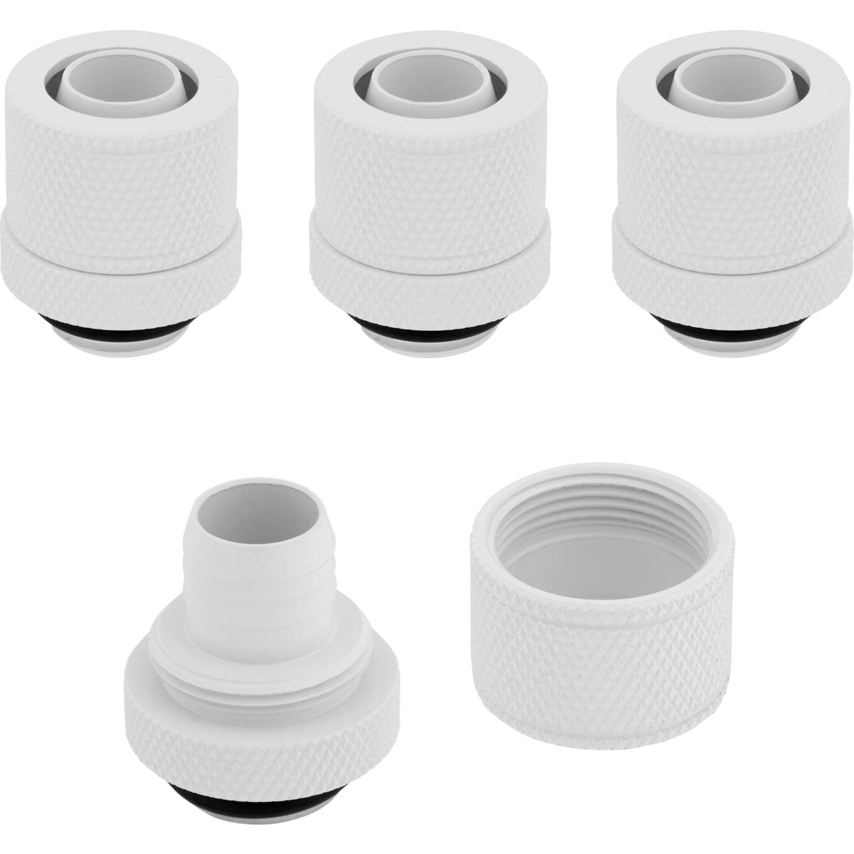"CORSAIR Hydro X Series XF Compression 10/13mm (3/8"" / 1/2"") ID/OD Fitting Four Pack - White"