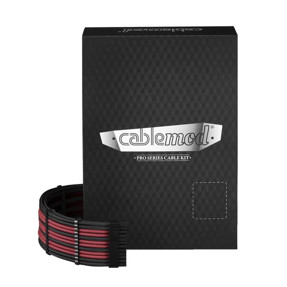 CableMod RT-Series PRO ModMesh Cable Kit for ASUS and Seasonic - BLACK / BLOOD RED (CM-PRTS-FKIT-NKKBR-R)