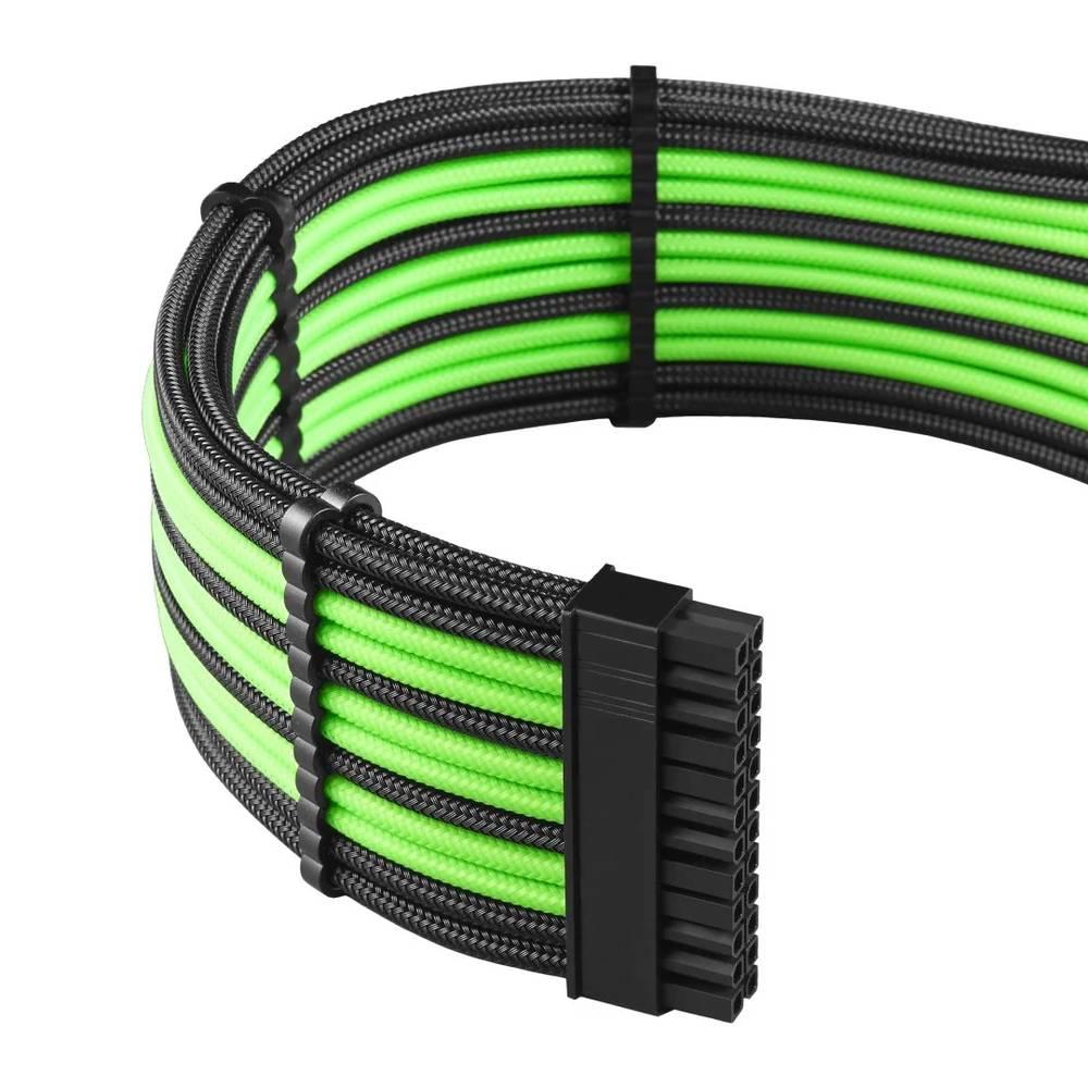 CableMod RT-Series PRO ModMesh Cable Kit for ASUS and Seasonic - BLACK / LIGHT GREEN (CM-PRTS-FKIT-NKKLG-R)