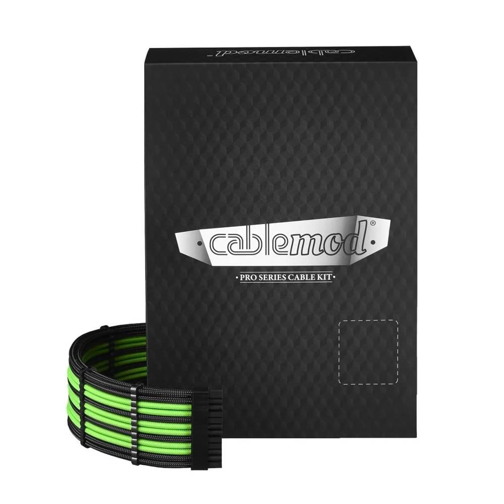 CableMod E-Series PRO ModMesh Cable Kit for EVGA G5 / G3 / G2 / P2 / T2 - BLACK / LIGHT GREEN (CM-PEV2-FKIT-NKKLG-R)