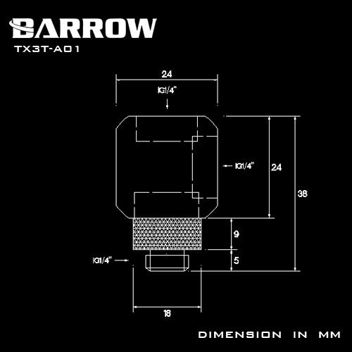 BARROW Rotary Metalic Cube Tee - 3Way Black