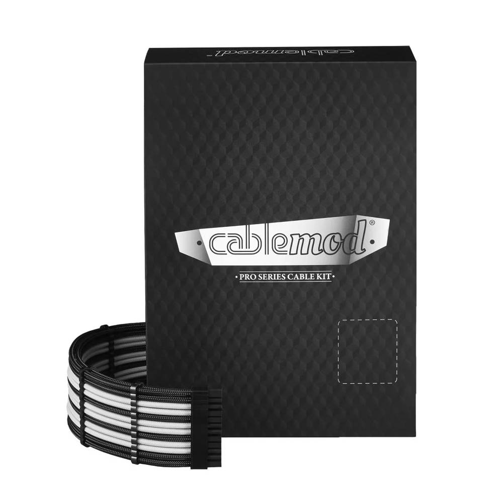 CableMod RT-Series PRO ModMesh Cable Kit for ASUS and Seasonic - BLACK / WHITE (CM-PRTS-FKIT-NKKW-R)
