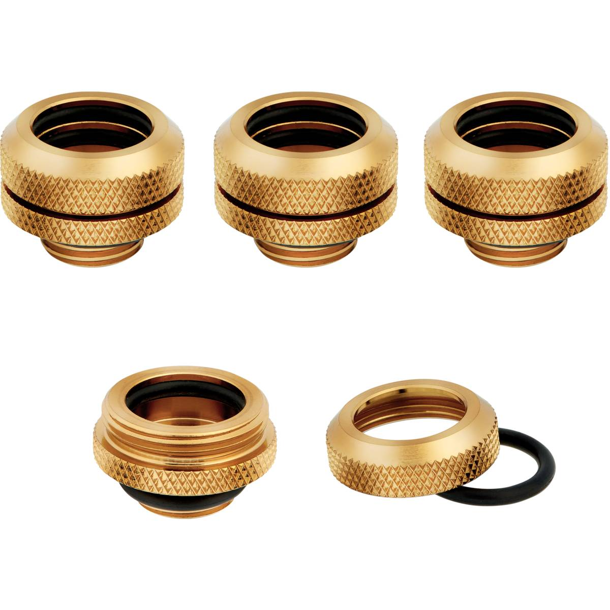 CORSAIR Hydro X Series XF Hardline 14mm OD Fitting Four Pack - Gold