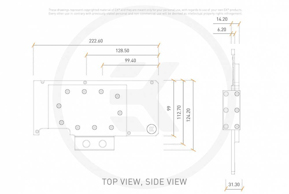 EK WaterBlocks EK-Quantum Vector RE RTX 3080/3090 Active Backplate - Acetal