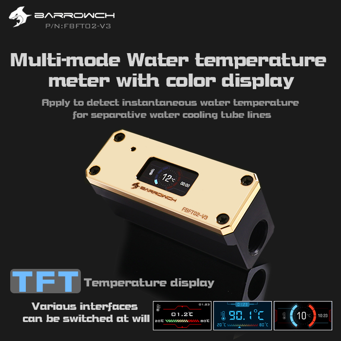 Barrowch multimode Water temperature meter with color OLED display Gold