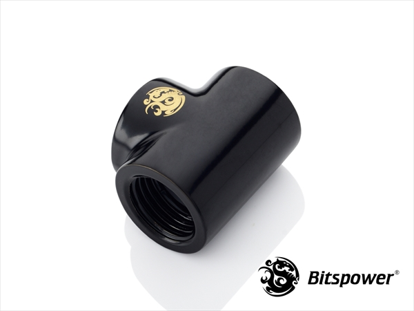 "Bitspower Matt Black T-Block With Triple IG1/4"""