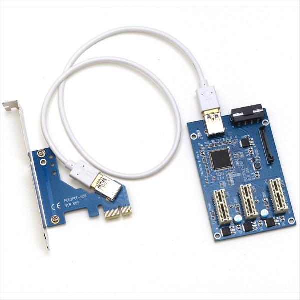 ProjectM PCIE x1 to 3x PCIE x1 変換アダプター PM-PCIE1T3