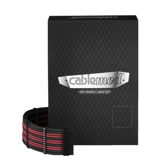 CableMod PRO ModMesh C-Series RMi & RMx Cable Kit - BLACK / BLOOD RED (CM-PCSR-FKIT-NKKBR-R)