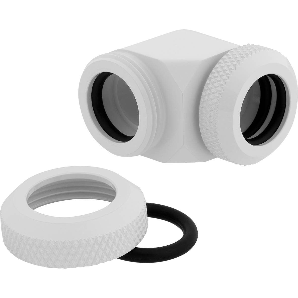 CORSAIR Hydro X Series XF Hardline 90° 12mm OD Fitting Twin Pack - White