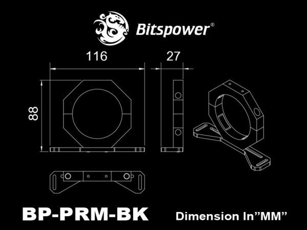 Bitspower Premium Reservoir Mount Black