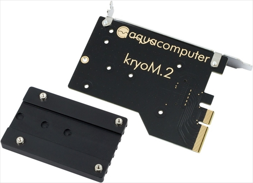 aquacomputer kryoM.2 PCIe 3.0 x4 adapter for M.2 NGFF PCIe SSD, M-Key with passive heatsink
