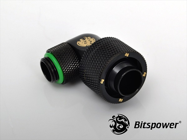 "Bitspower G1/4"" Matt Black Dual Rotary Angle Compression Fitting CC5 For ID 1/2"" OD 3/4"""