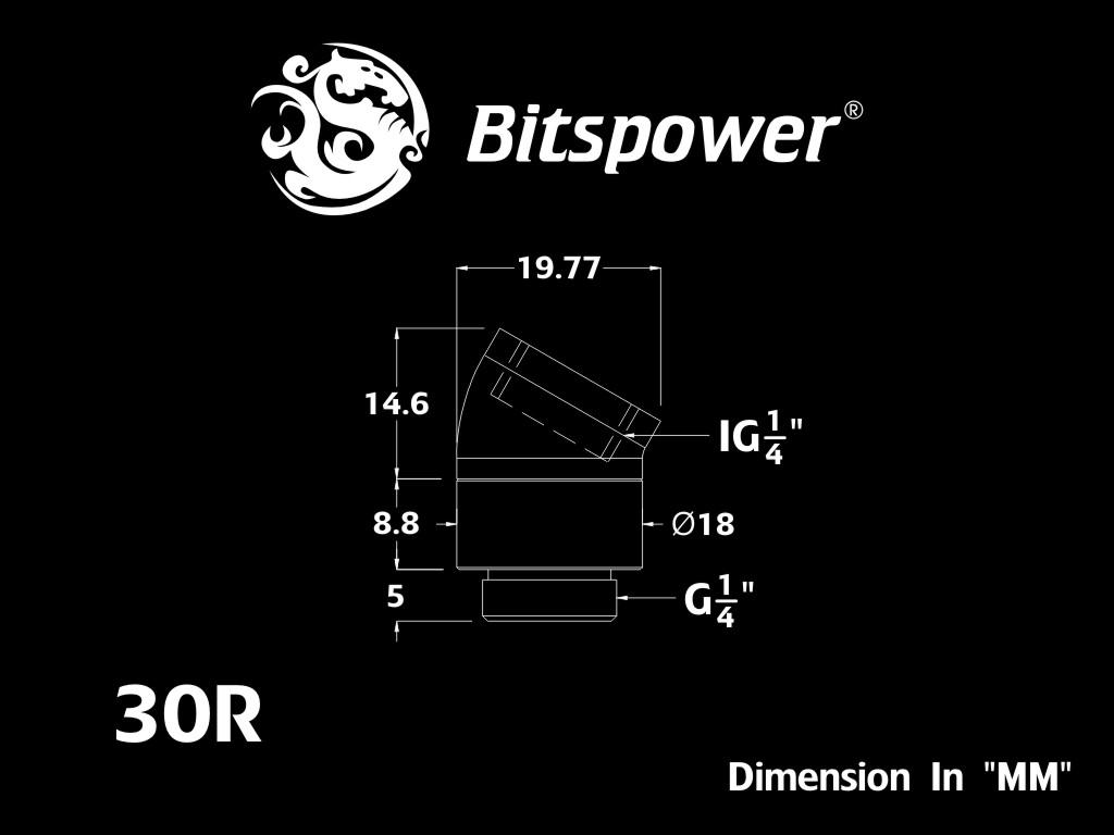 Bitspower G1/4 Matt Black Rotary 30-Degree IG1/4 Extender