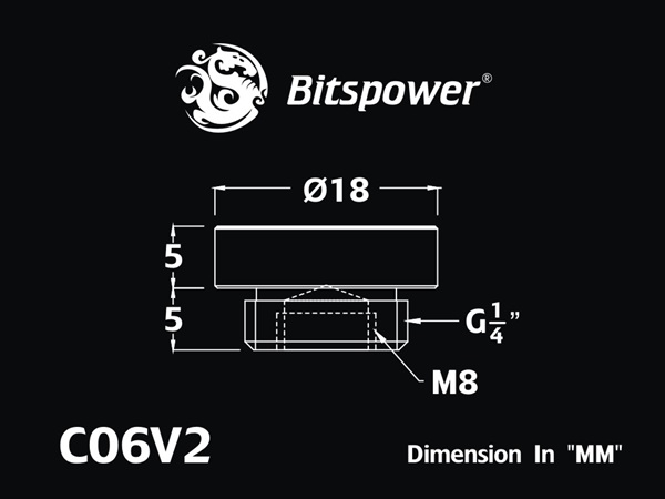 "Bitspower G1/4"" Silver Shining Stop Fitting V2"