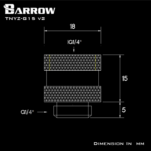 BARROW Male to Female Extender - 15mm V2 Shiny silver
