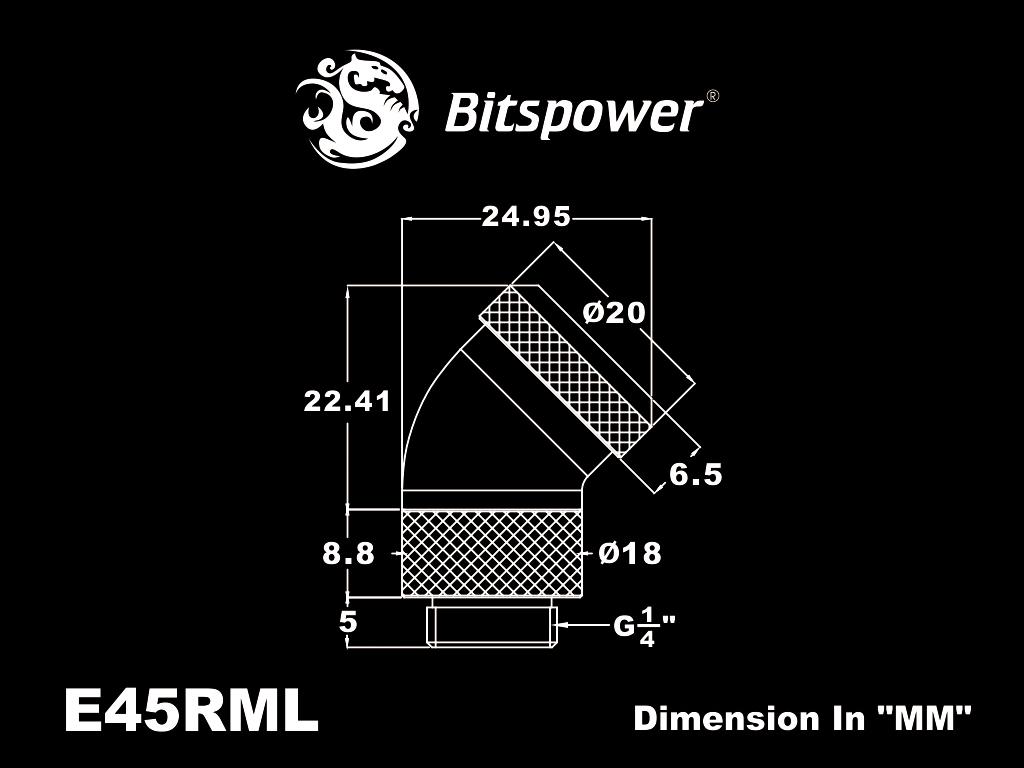 """Bitspower Matt Black Enhance Rotary G1/4"""" 45-Degree Multi-Link Adapter"""