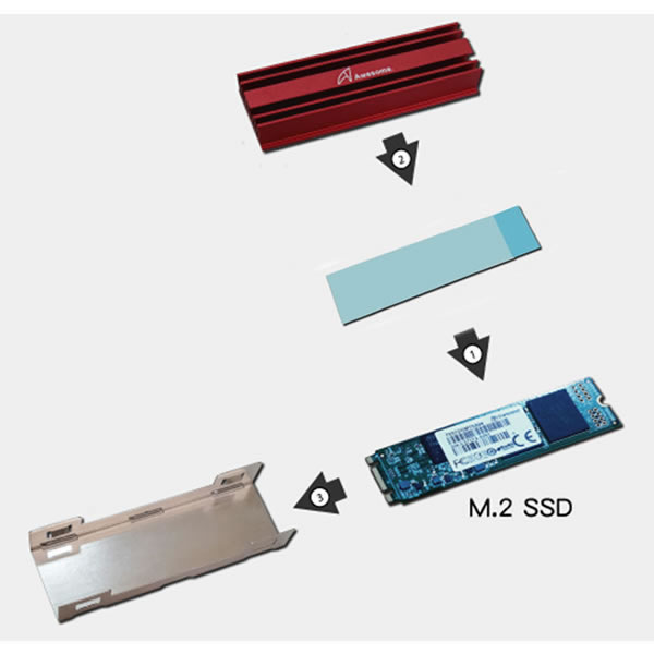 Awesome AWD-MCS01R M.2 2280 SSD NGFF HeatSink Red