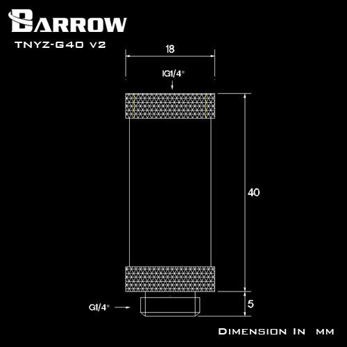 BARROW Male to Female Extender - 40mm Black