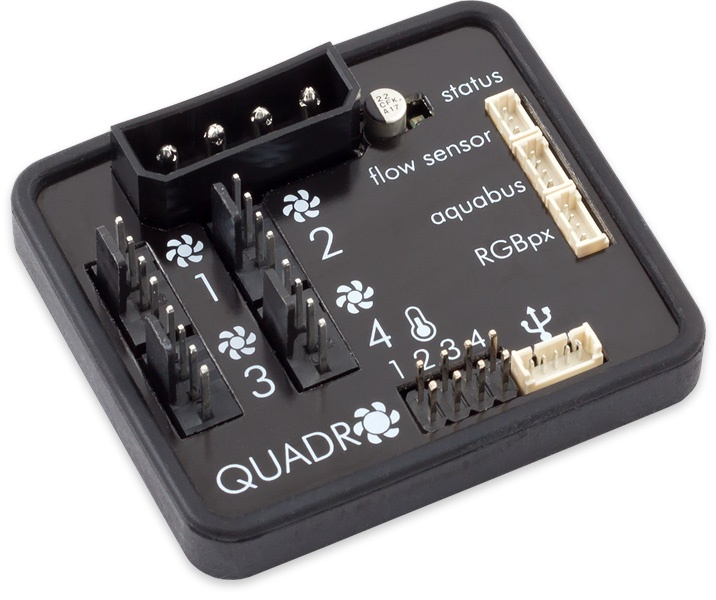 aquacomputer QUADRO fan controller for PWM fans with RGBpx lighting set for monitors, 60 addressable LEDs