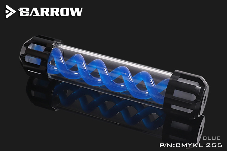 Barrow Composite version of multicolor T Virus Reservoir 255MM Blue spiral + classic black top cover w/LED