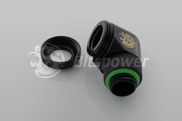 """Bitspower Matt Black Enhance Rotary G1/4"""" 90-Degree Multi-Link Adapter"""
