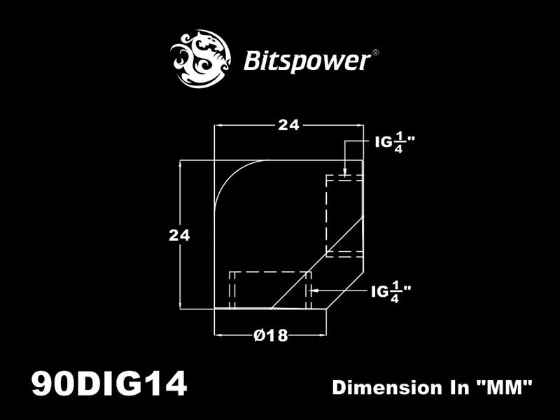 """Bitspower Matt Black 90-Degree With Dual Inner G1/4"""" Extender"""