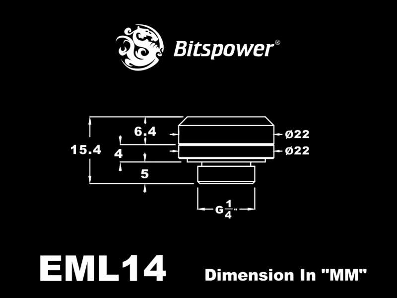 """Bitspower G1/4"""" Silver Shining Enhance Multi-Link For OD 14MM"""