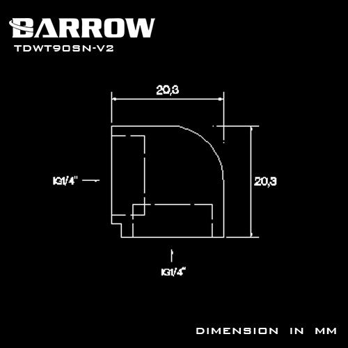 BARROW 90°Adapter ( Female to Felame ) Black