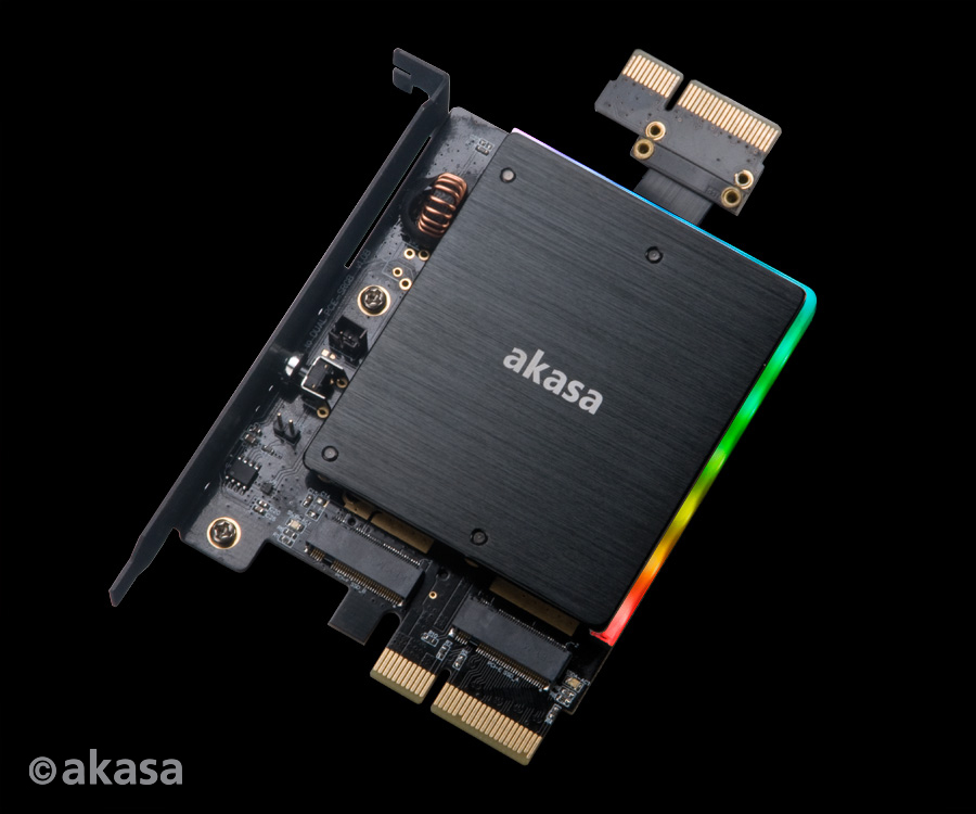 akasa Dual M.2 PCIe SSD adapter with RGB LED light and heatsink