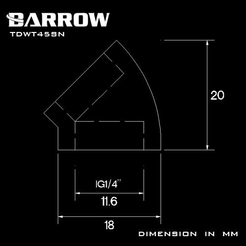 BARROW 45°Adapter ( Female to Felame ) Black