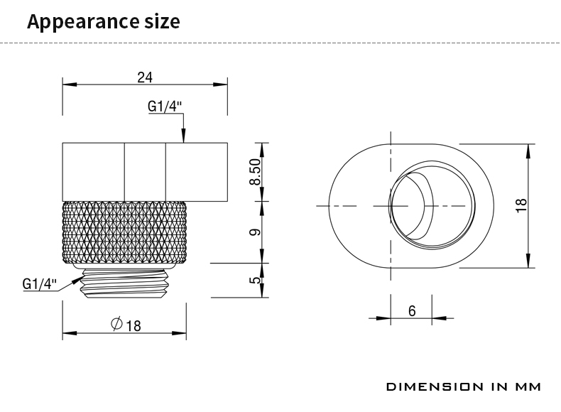 BARROW G1/4' 360°rotation offset adapter 6MM POM Portable version