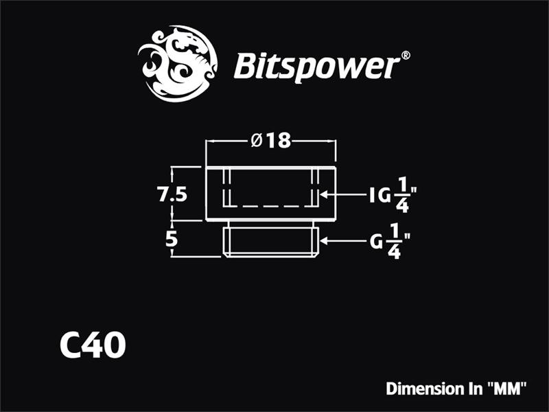 """Bitspower G1/4"""" Matt Black IG1/4"""" Extender"""