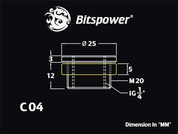 """Bitspower G1/4"""" Matt Black CaseTop Water-Fill SET"""
