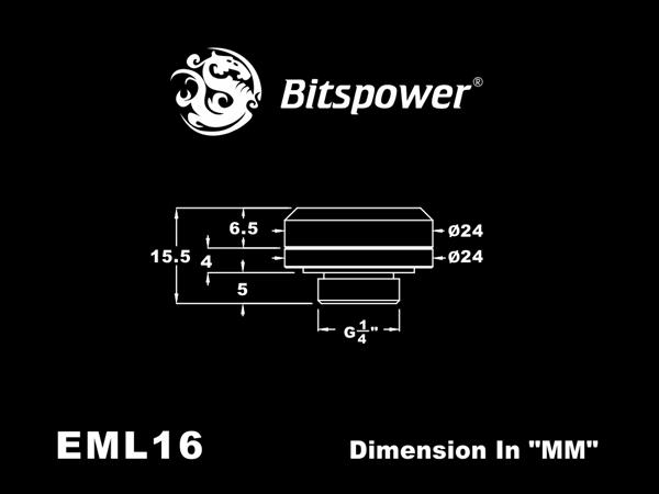 """Bitspower G1/4"""" Matt Black Enhance Multi-Link For OD 16MM"""