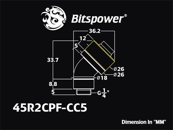 "Bitspower G1/4"" Matt Black Dual Rotary 45-Degree Compression Fitting CC5 For ID 1/2"" OD 3/4"""