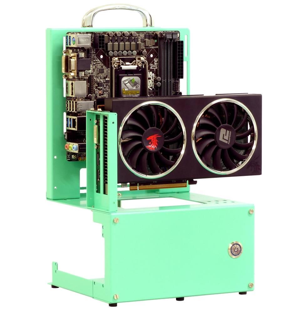 長尾製作所 オープンフレーム ver.mini-ITX ライトグリーン ATX電源対応モデル