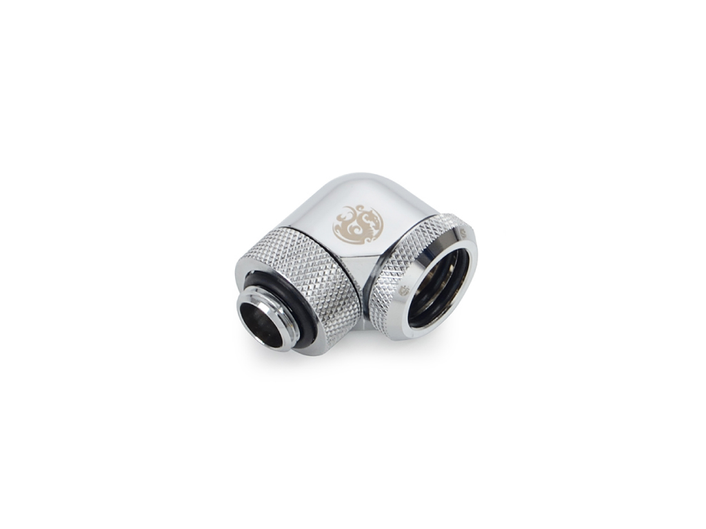 "Bitspower Silver Shining Enhance Rotary G1/4"" 90-Degree Multi-Link Adapter For OD 16MM"