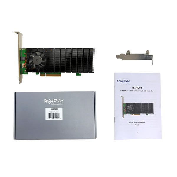 HighPoint SSD7202 NVMe M.2 SSD 2枚搭載可能 RAID コントローラー
