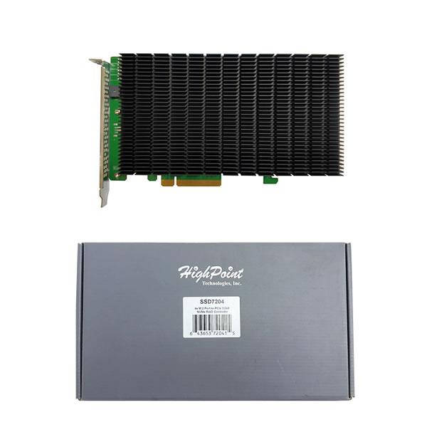 HighPoint SSD7204 NVMe M.2 SSD 4枚搭載可能 RAID コントローラー