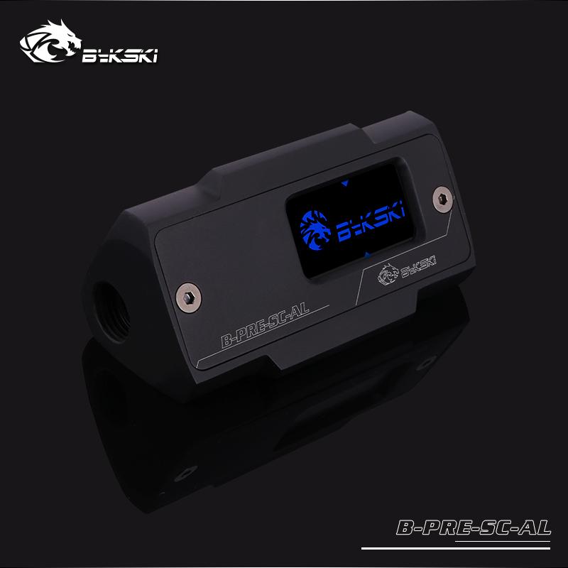Bykski Inline Aluminum Pressure Gauge Module w/ OLED Display - Black (B-PRE-SC-AL)