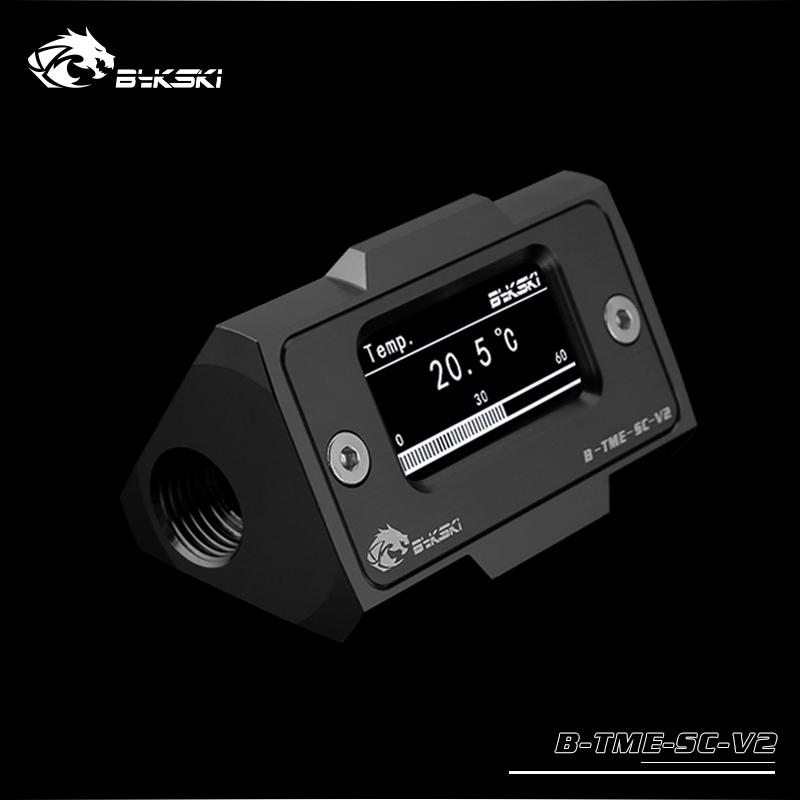 Bykski Inline Aluminum HD LCD Thermometer - Black