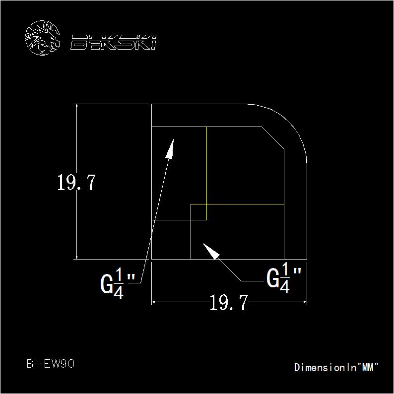 Bykski G1/4 Female to Female 90 Degree Elbow Fitting - Black