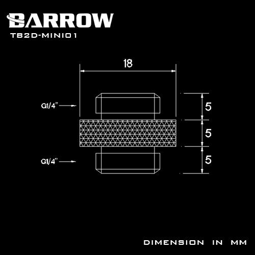 "BARROW Mini Dual Male G1/4"" Extender Shiny silver"