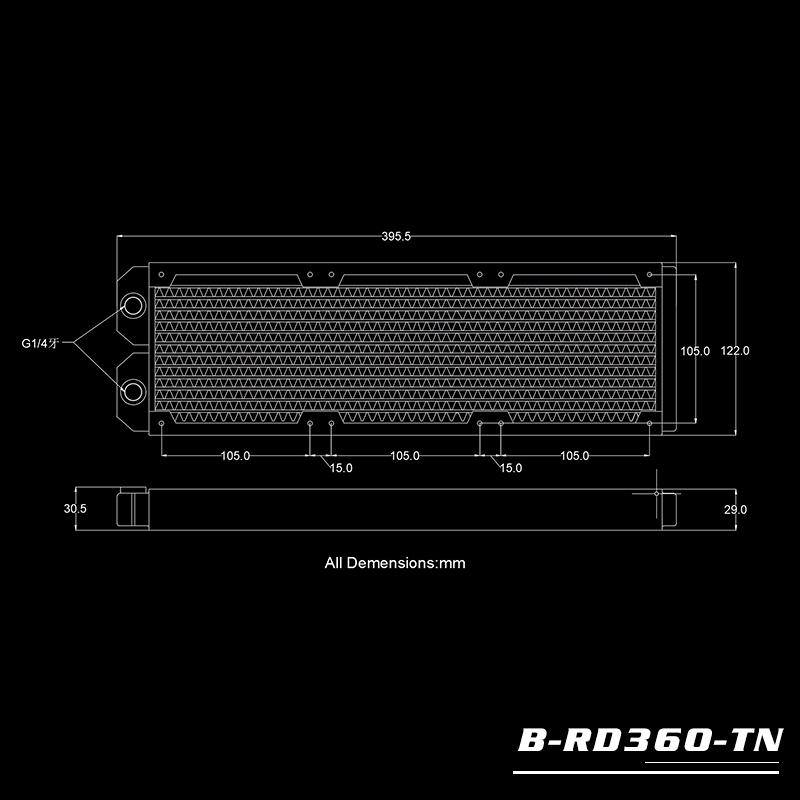 Bykski B-RD360-TN 360 pure copper water cooling row thin row radiator 12CM fan